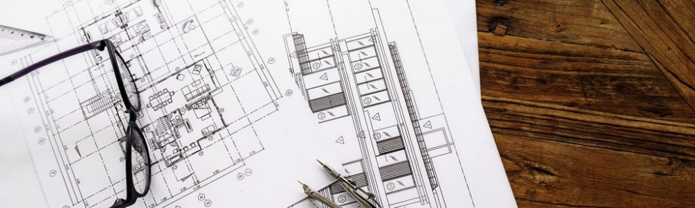 Image of engineering objects on workplace top view.Construction