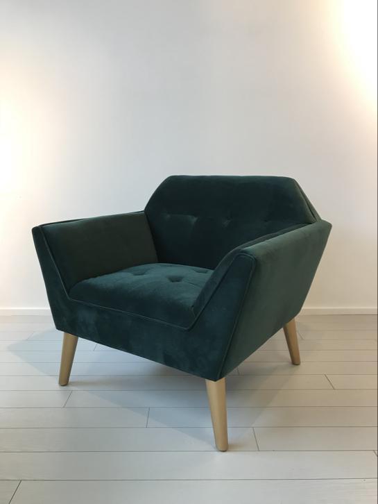 Sixties fauteuil smaragd groen