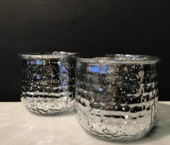 waxine houder zilver glas