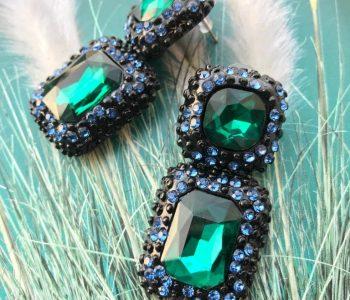 Oorbellen blauw groen
