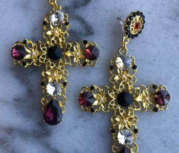 Oorbellen kruis met paars