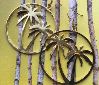Oorbellen spiegel palmen goud