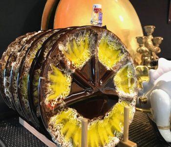 Fondue borden geel