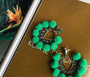 oorbellen pompon groen