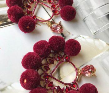 Oorbellen bolletjes rood