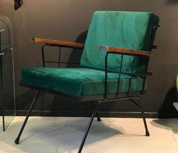 fauteuilstaalmetvelvetgroen