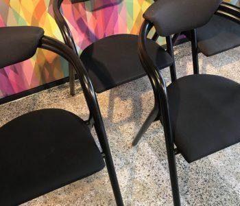 retrokantoorstoelzwartsetvan4stoelen