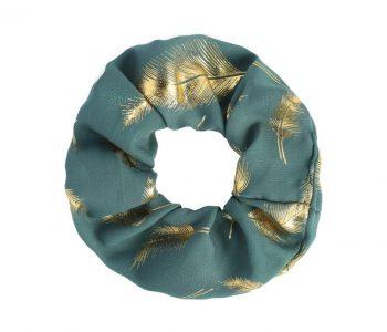 Scrunchie groen met goud veren