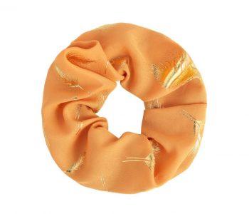 Scrunchie oranje met goud veren