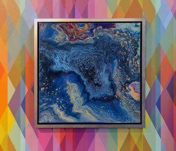 Infini-6-54x54-kleurblauwgeelpaars-lijstzilverkleurigzwarthout-vooraanzicht