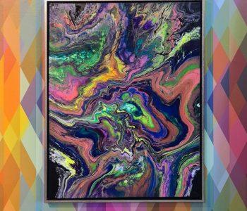 Infini-7-83x63-kleurblauwrozegeel-lijstzilver-vooraanzicht