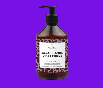 OUDNIEUWSTWELLO_the gift label_handsoap_CleanHandsDirtyMinds_webpackshot